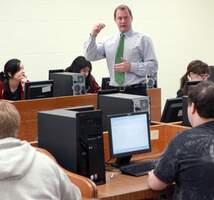 Computer classroom and students