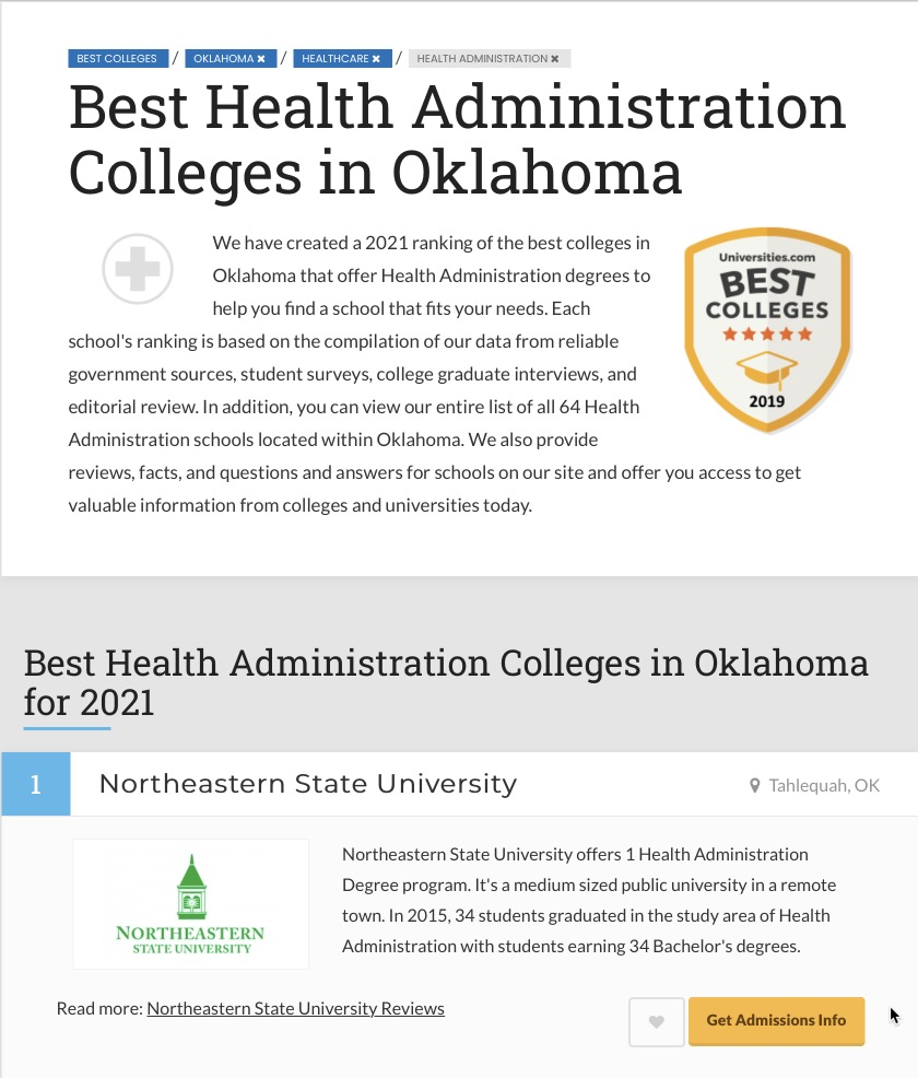 NSU ranked Best Health Administration College in Oklahoma